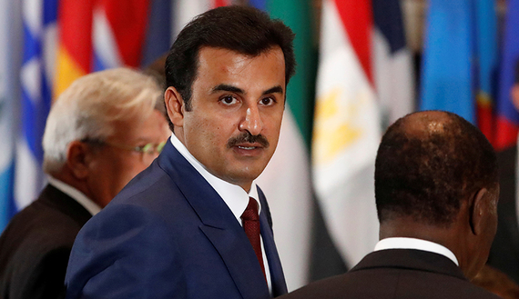 Qatar's Emir, Sheikh Tamim bin Hamad al-Thani arrives for a luncheon during the United Nations General Assembly at United Nations headquarters in New York City