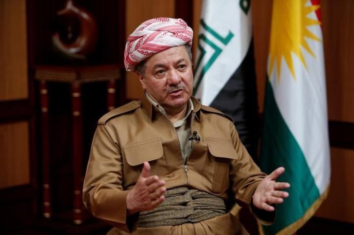 Iraq's Kurdistan region's President Massoud Barzani speaks during an interview with Reuters in Erbil