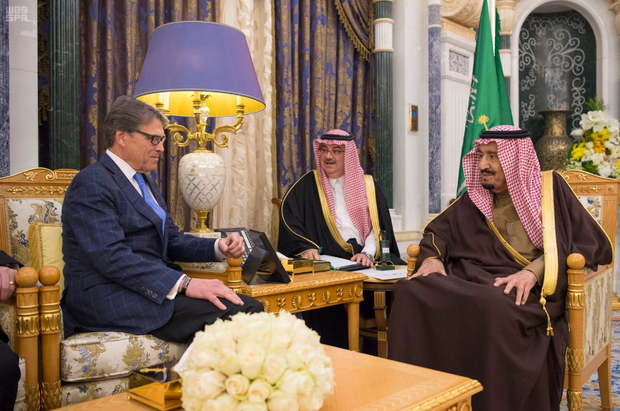 Saudi Arabia's King Salman bin Abdulaziz Al Saud meets with U.S. Energy Secretary Rick Perry in Riyadh