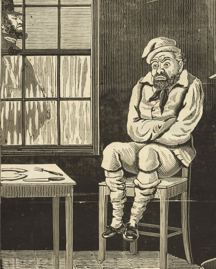 The Political drama. [A series of caricatures.] - caption: ''John Bull; or, an Englishman's fireside!' In a room an emaciated John Bull is sitting on a chair, shivering; a policeman is outside the window. The subject is the the proposed, 'Sabbath Bill', which was set to drastically control activities on the Sabbath.'
