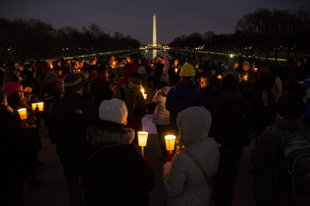 Candle Light Vigil Held At Lincoln Memorial In Solidarity With Protest Against Trump's Immigration Ban