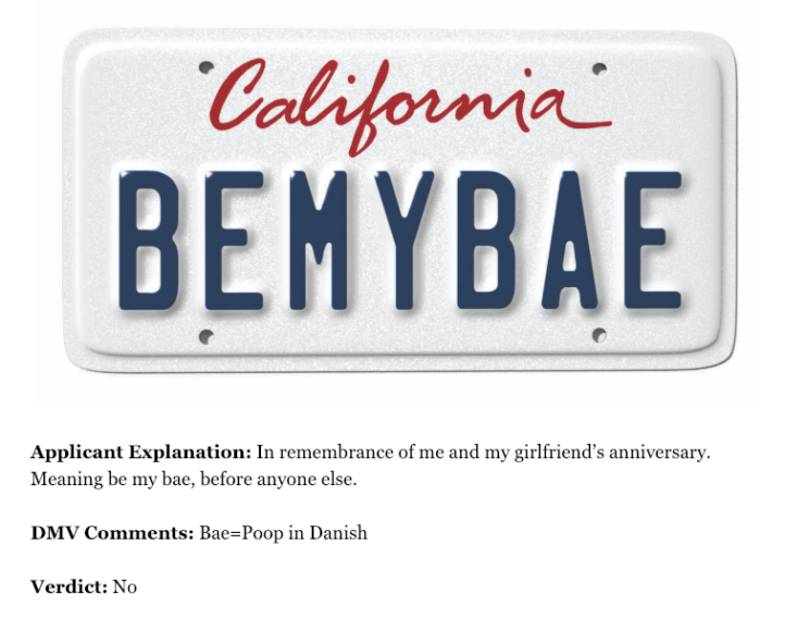 The best of California's rejected vanity plates – Hawkins